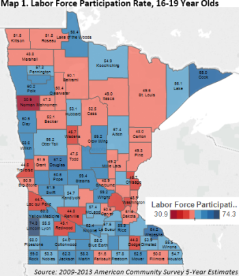 Map 1 Labor Force 16-19